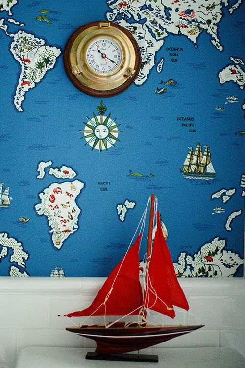 "Sneak Peek: Caitlin Wilson Design's Oregon Project. ""Inspired by Ralph Lauren's Expedition Novelty Map wallpaper in Baltic Blue, the kids' travel-themed bathroom is filled with fun finds from the Monterey Pier."" #sneakpeek"