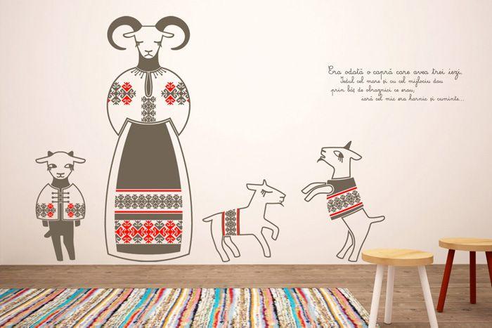 Sticker de perete Capra cu trei iezi creat de Cai verzi pe pereti Made in RO, Târg de design românesc: pe 25 și 26 mai, la Galeria Alchemia