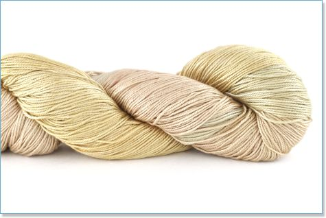 Handmaiden, Sea Silk in Ivory Divine yarn made of pure silk with Sea Cell, a fiber containing seaweed.