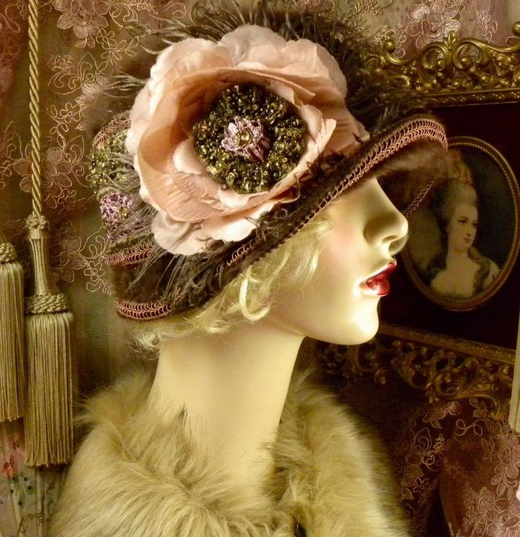 1920'S VINTAGE STYLE BROWN MAUVE & GOLD BEADED FEATHER ANGORA CLOCHE FLAPPER HAT #PatriciaJosephineAntiqueStyleDesign #Cloche