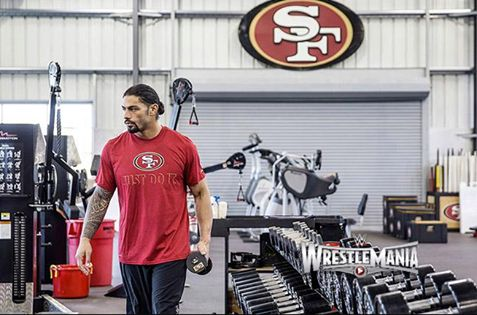 """How does one prepare themselves for a match against Brock Lesnar? Roman Reigns' pre-WrestleMania workout in the San Francisco 49ers' gym ensures he'll have a better physique for the Show of Shows than Jake Gyllenhaal in """"Southpaw""""! SEE PHOTOS: http://wwe.me/KTBGI VIDEO PLAYLIST: http://wwe.me/KTBIL"""