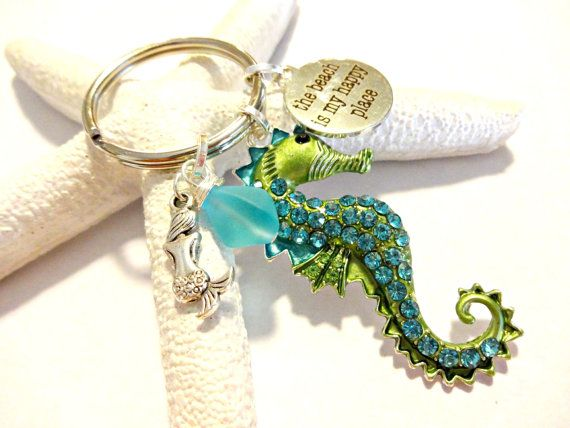 Coastal Chic Keychain Seahorse Pendant Key Chain by YoursTrulli