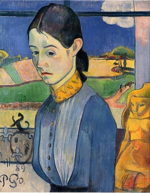 """Paul Gauguin, Young Breton Woman, 1889. this has hung in my kitchen for some time. my husband and i bought the poster after seeing the painting many years ago. my oldest son used to call it """"mama"""" when he looked at it when he was a baby:) i always thought it resembled my good friend jessica...it's a beautiful painting."""