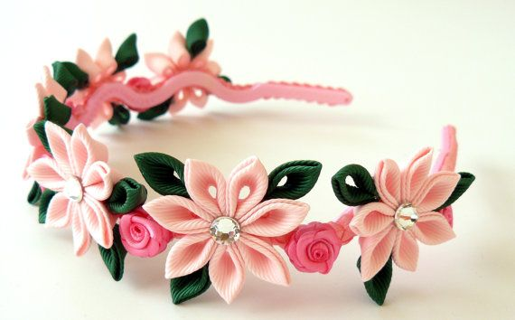 Pink Kanzashi Fabric Flower headband. . by JuLVa on Etsy, $22.00