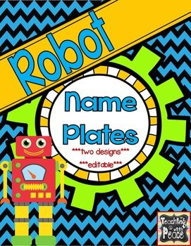 "***Freebie for your robot themed classroom*** Two robot themed name plate designs(size: 9 3/4"" x 2 7/8""). Plus, you can add your own text! This includes a pdf file which you will only be able to print.  Also included is a PowerPoint file which will allow you to add text, however you will not be able to edit the design of the label.Check out the other Robot Theme items in my store!Robot Theme Labels *editable*Robot Theme Name Plates *editable*Robot Theme Centers and Table Signs…"