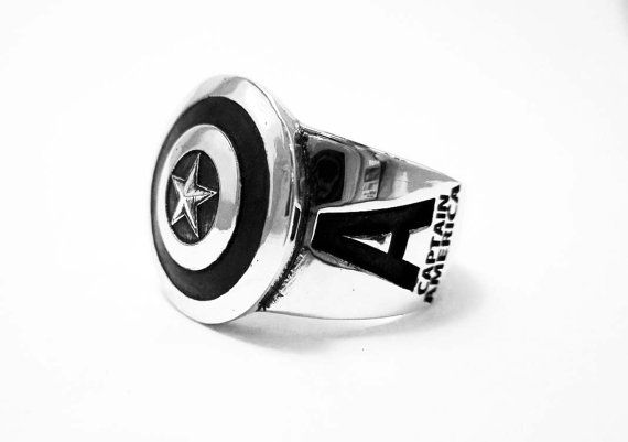 925 Sterling Silver Captain America ring / by Siamhandmade2014