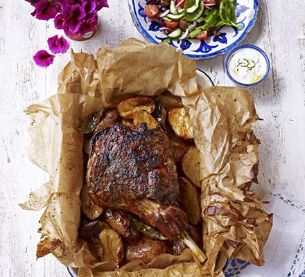 Lamb kleftiko. Seal a leg of lamb in a parcel then roast it long and slow with garlic, lemon and herbs, and potatoes to soak up the delicious juices