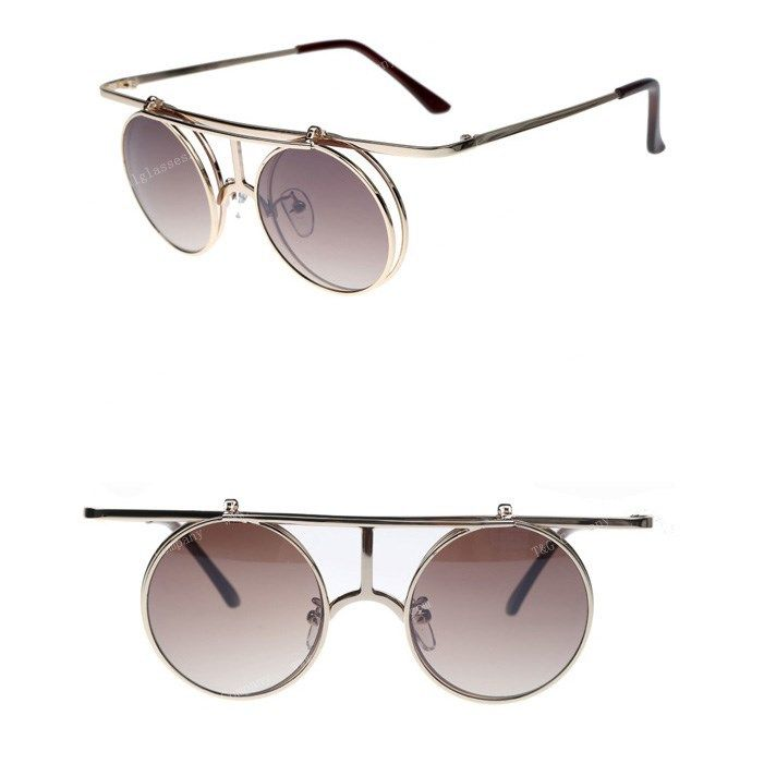New 2014 Vintage Steampunk Sunglasses Flip Up Round Circle Shape Glasses Brand Unisex Glasses Women Outdoors Fashion-in Sunglasses from Apparel & Accessories on Aliexpress.com