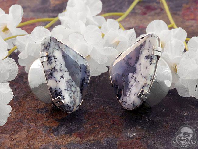 Silver Plugs with Free Form Dendritic Agate, Diablo Organics |  BAF