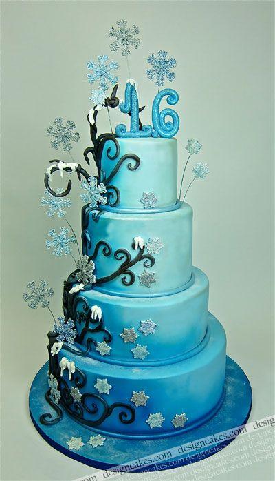 Winter Wonderland Sweet Sixteen Cake cakepins.com