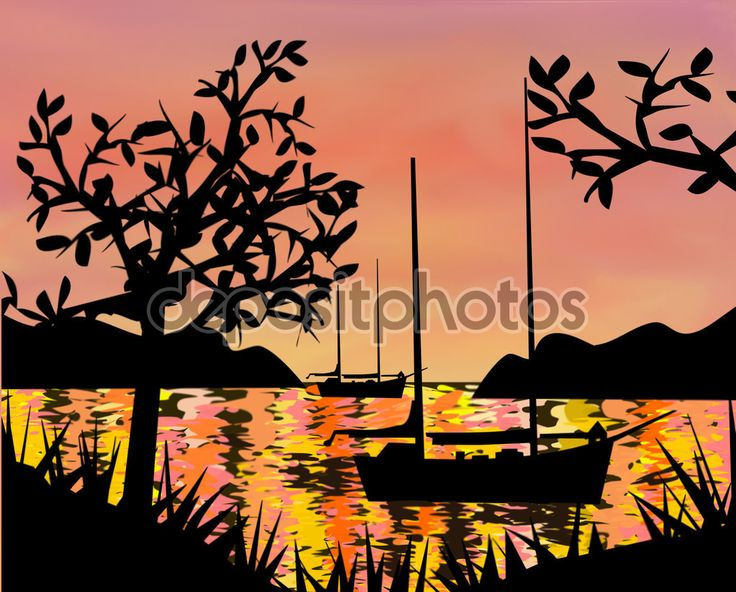 Sailboats at Sunset - Stock Image: 65828287