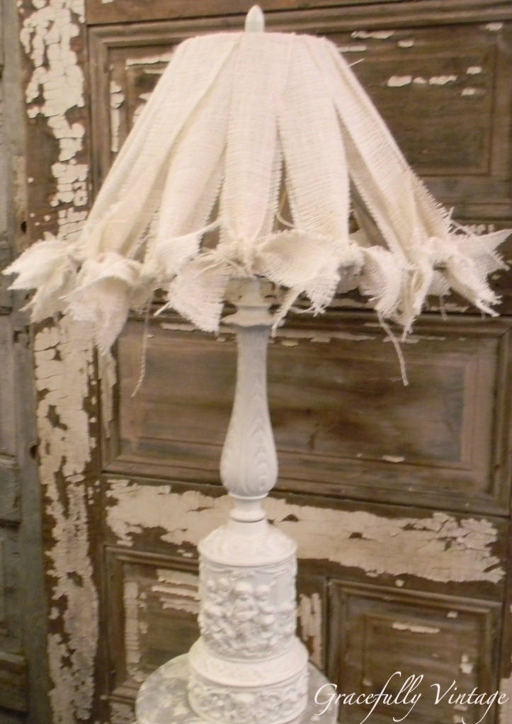 Custom Made Burlap Shade with Simple White Cherub lamp-  (elegant & shabby): Burlap Lamps Shades, Burlap Shades, Brass Lamps, Vintage Lampshades, Living Room, Lampshades Ideas, Burlap Ties, Burlap Lamp Shades, Cherub Lamps
