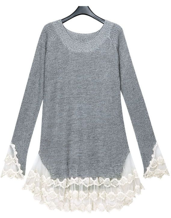 Grey Long Sleeve Contrast Lace Pullover Sweater - SheInside