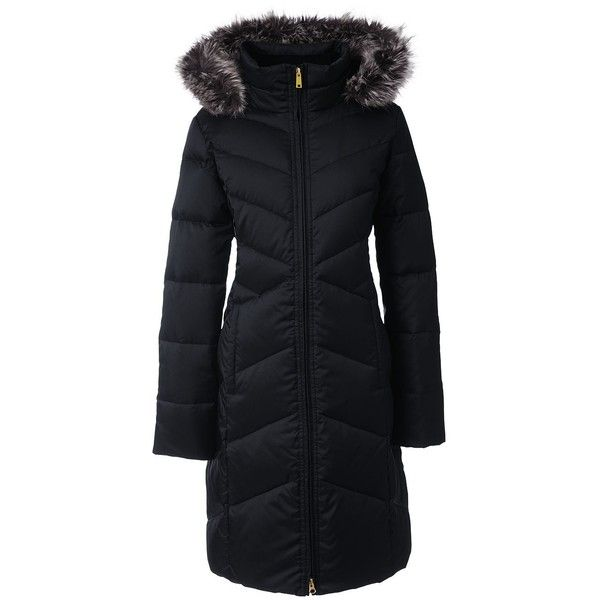 Lands' End Women's Plus Size Petite Shimmer Down Coat ($119) ❤ liked on Polyvore featuring outerwear, coats, black, petite coats, cold weather coats, plus size down coats, lands end coats and lands' end