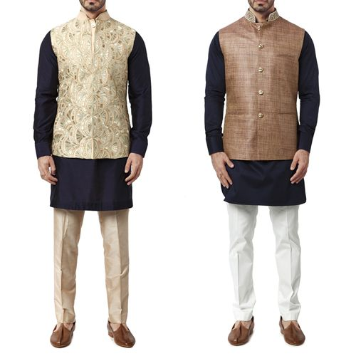 Outfit options for a male guest attending a wedding ceremony. Fully Embroidered Waistcoat and Brown and Pink Waistcoat by WYCI. #indianattire #indianweddingoutfit #waistcoat