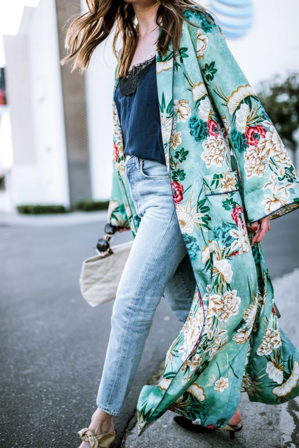 long silk kimono worn with jeans