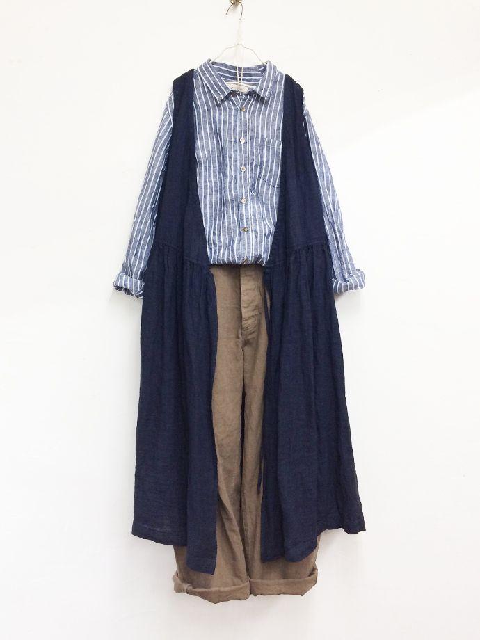 リネンノースリーブワンピース / STRIPE   コーディネート nest Robe ONLINE SHOP