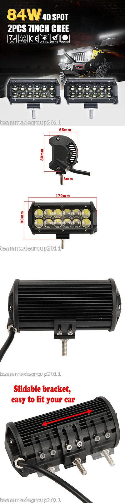 Car Lighting: Pair 7Inch 84W Cree Led Light Bar Work Spot Driving For Jeep Suv Pk 36W Flood 6 BUY IT NOW ONLY: $41.95