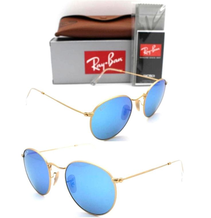 Ray-Ban Round RB 3447 112/4L 50mm Matte Gold Frame / Blue Mirror