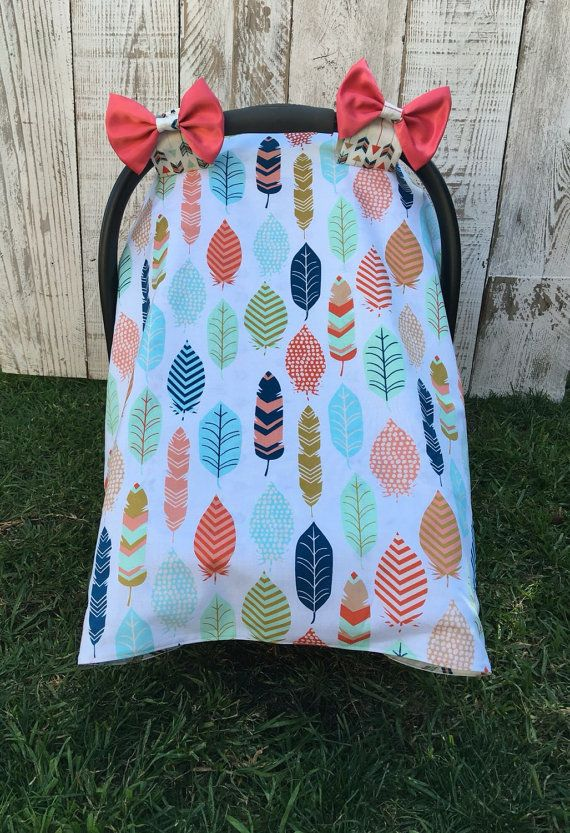 Custom Baby Girl Car Seat Cover Set, Boho Chic Car Seat Canopy, Feathers Carseat Cover, Arrows, Tribal Infant Carseat Canopy, Woodland on Etsy, $44.99