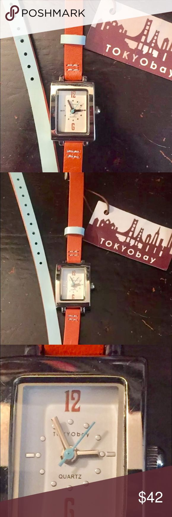 NWT Tokyo Bay Woman's Wrap Watch, Quartz (battery) Watch by Tokyo Bay, orange & blue, NWT, needs a new battery Tokyo Bay Accessories Watches
