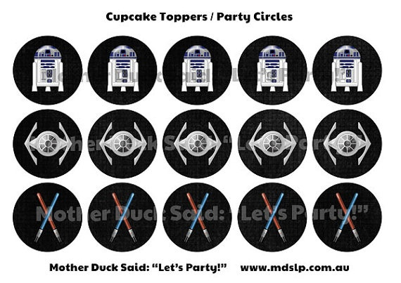 Star Wars Inspired Party Circles Cupcake Toppers Printable