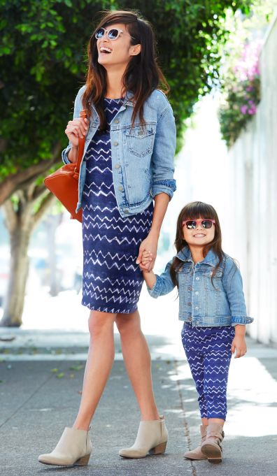 This spring we're serving up a double-dose of cuteness: Now your mini-me can match mommy! The printed linen-blend shift dress for women also comes in a toddler-sized and tot-ally cute (see what we did there?) matching printed capri jumpsuit. Pair with an Old Navy denim jacket for a matching outfit idea that's part street and 100% sweet.