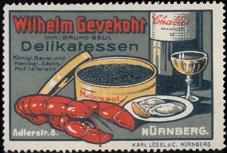 Wilhelm Gevekoht, s.d.;  pubblicità gastronomia Gevekoht, Norimberga; bollo chiudilettera