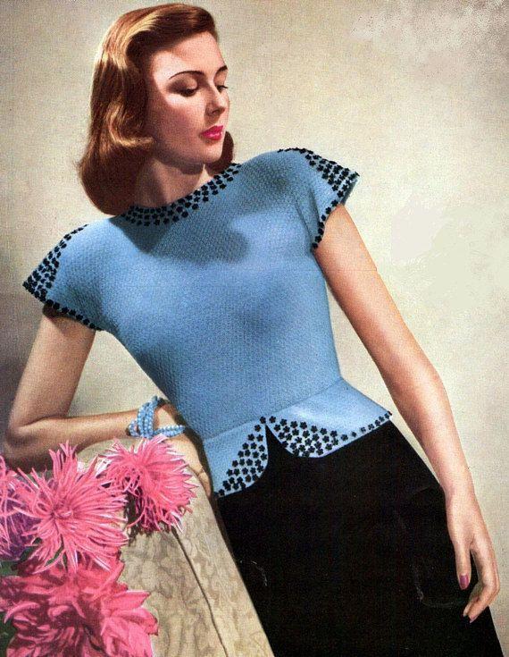 Damen Abend Pullover 1945 atemberaubende Pailletten Vintage Strickmuster pdf