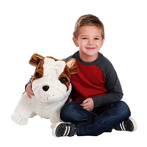 Collapse N' Carry AS SEEN ON TV Inflatable 1.6 Foot Tall Fuzzy Plush Toy Bulldog