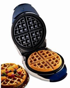 Belgian Waffle Maker from Proctor Silex  For $20 a piece, you'll get a great waffle maker with a slick interior and beautiful design. The Proctor Silex Belgian Waffle Maker is space-savvy as well and you'll waste less time cleaning it and  actually feast on the tasty treats that come out of it.
