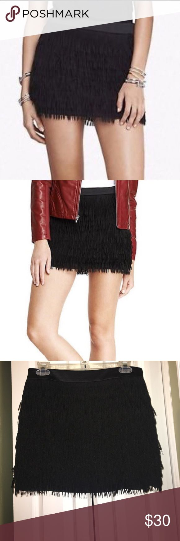 Express Fringe Mini Skirt Black fringe Express brand mini skirt. Size 6. In brand-new condition. I wore this skirt once in Las Vegas. It has no flaws and looks amazing on! Side zipper. Express Skirts Mini