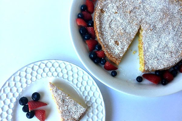 Fourth of July-themed Gluten Free Lemon Cake recipe from guest blogger Jenny Finke of Good For You Gluten Free, using Honeyville Blanched Almond Flour.