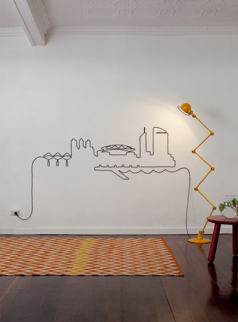 fantastic.: Wall Art, Wall Decor, Make Art, Decor Ideas, Exten Cords, Cities Skyline, Cool Ideas, Art Installations, Great Ideas
