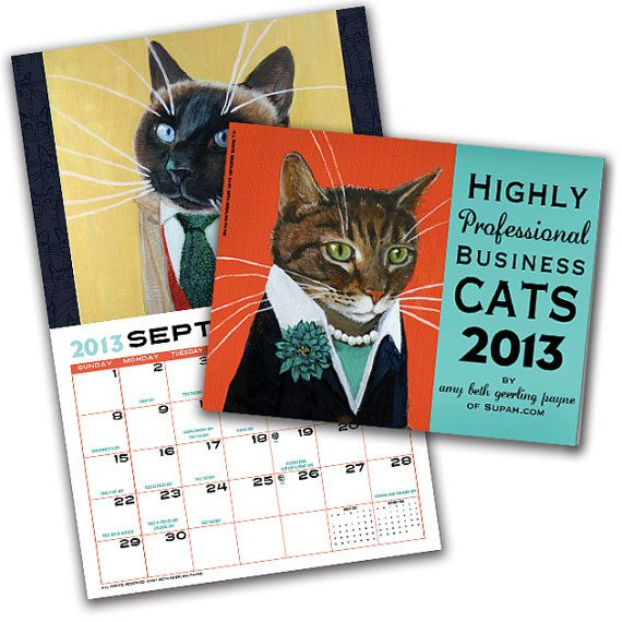 CLEARANCE SALE - Business Cats Wall Calendar 2013 on Etsy, $12.00