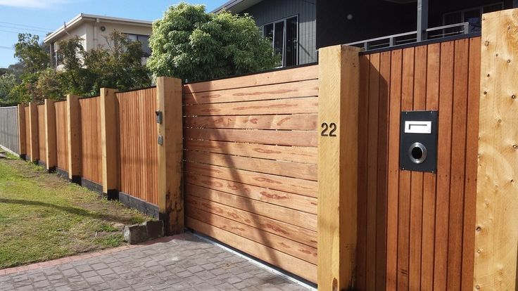 Feature Merbue fence, 250 x 250 Cyprus posts, 1 meter deep footings, Merbue face, sliding gate with FAAC gate automation system, video intercom and  9 digit entry key pad.  - Peninsula Upright Fencing, Fencing Construction, Mornington, VIC, 3931 - TrueLocal