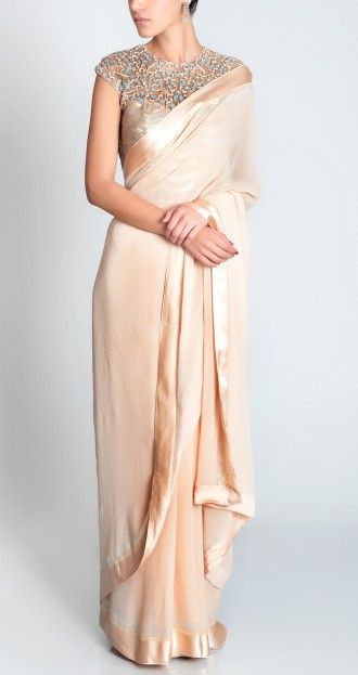 Champagne #Saree With Embroidered Corset.