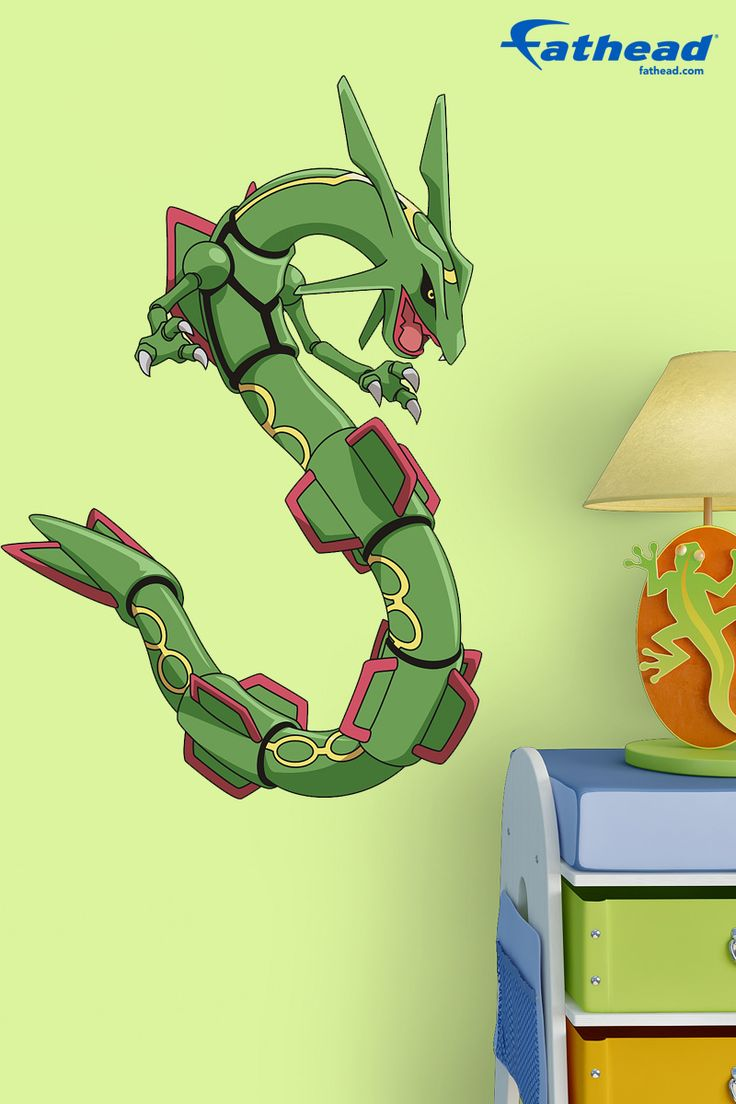 Give your kids' bedroom an easy update with Pokémon removable vinyl wall decals. SHOP Fathead wall murals and wall graphics at  http://www.fathead.com/kids/pokemon/rayquaza-fathead-jr-wall-decal/ | DIY Kids Fun Bedroom Decor Ideas | Boys + Girls Bedroom Wall Art Decor