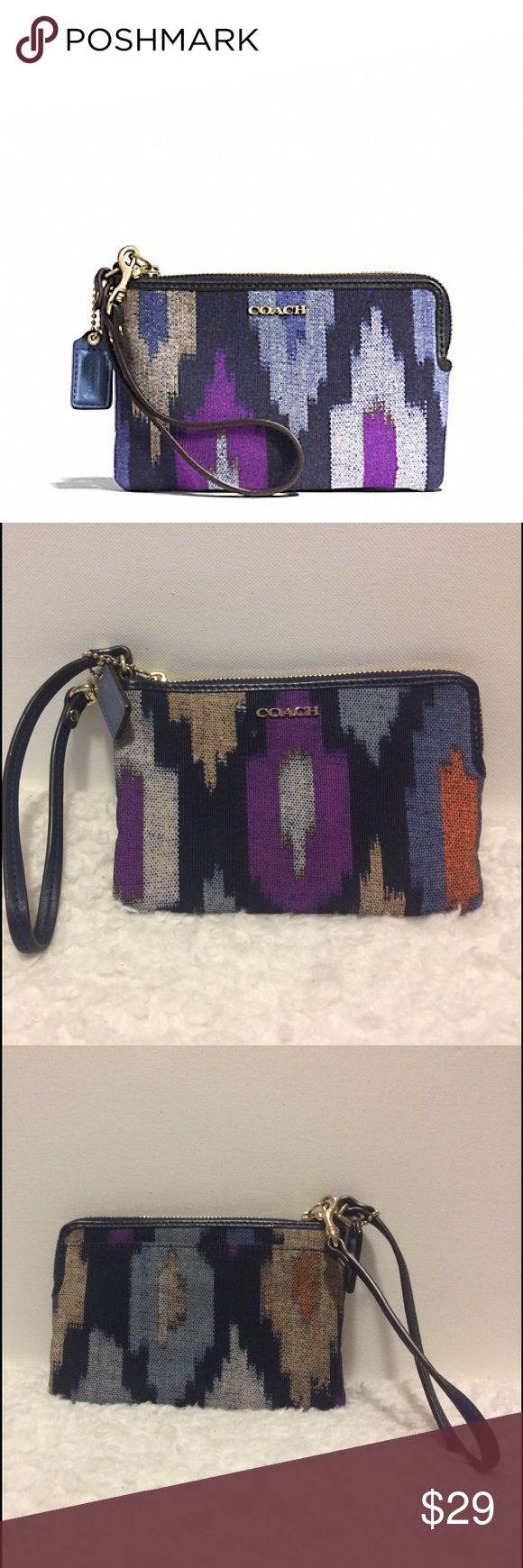 """COACH MADISON IKAT PRINT CANVAS ZIP SMALL WRISTLET MADISON IKAT PRINT CANVAS L-ZIP SMALL WRISTLET COACH F51418 LIGHT GOLD/BLUE MULTI Details Ikat print fabric with leather trim  Zip-top closure, fabric lining  Strap with clip to form a wrist strap or attach to the inside of a bag  6 1/4"""" (L) x 4"""" (H) x 1/2"""" (W)  This is a signature product Coach Bags Clutches & Wristlets"""