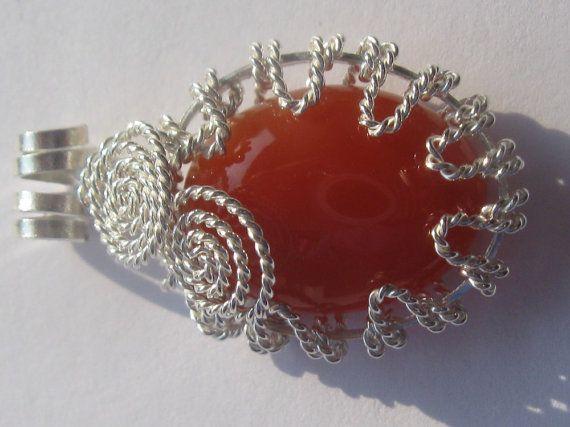 Spatial Carnelian Pendant - Carnelian Oval Cabochon Wire Wrapped in Sterling Silver