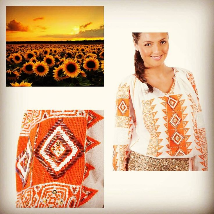 Sunflower..child of summer! This colorful, traditional Romanian blouse, with a unique embroidery is the perfect piece of clothing for this summer!  #florideie #fashion #summer #colorful #sun #fresh #elegant #style #romaniandesign