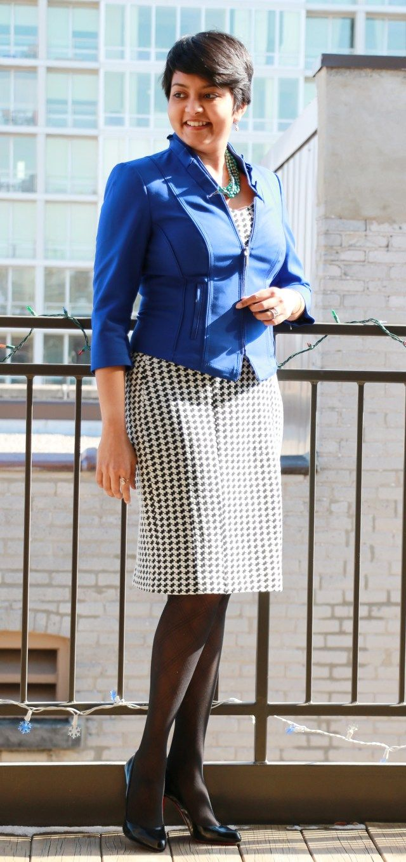 emploi houndstooth dress, cobalt blazer, christian louboutin ...