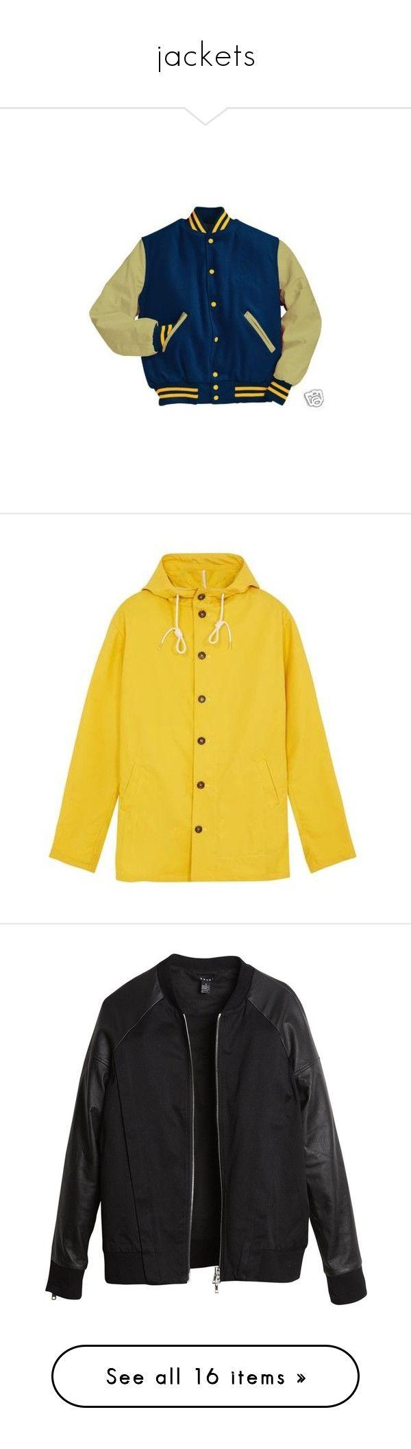 """jackets"" by falllingforyou ❤ liked on Polyvore featuring outerwear, jackets, tops, coats, woolen jacket, leather sleeve varsity jacket, teddy jacket, blue letterman jacket, letterman jacket and men's fashion"