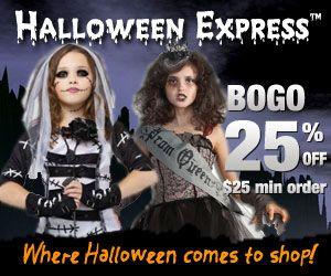 Halloween Express BOGO Offer BOGO 25% Off at Halloween Express $25 min order.