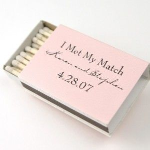 A pack of 50 boxes cost £36… so quite a cheap and cheerful wedding favour.  You light my fire!  One Hot Match  A Perfect Match  I Met my Match  A Match Made in Heaven  A big thanks to our Matchmaker!