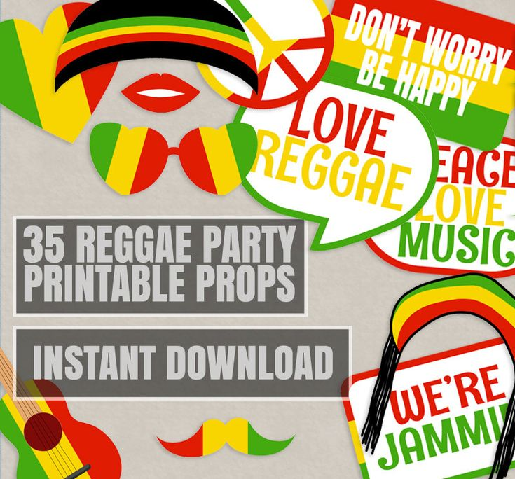 35 Reggae Props Printables, Reggae photo booth props, rasta theme party decor, party props, reggae photobooth prop, instant download by YouGrewPrintables on Etsy