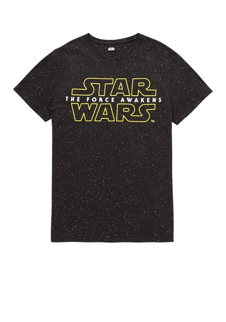 <li><p>Turn to the dark side in time for the new movie with our bold Star Wars t-shirt. Featuring a large logo on the front, the speckled t-shirt is finished with a round neck and short sleeves.</p><p>Round neck</p><p>Short sleeves</p></li>