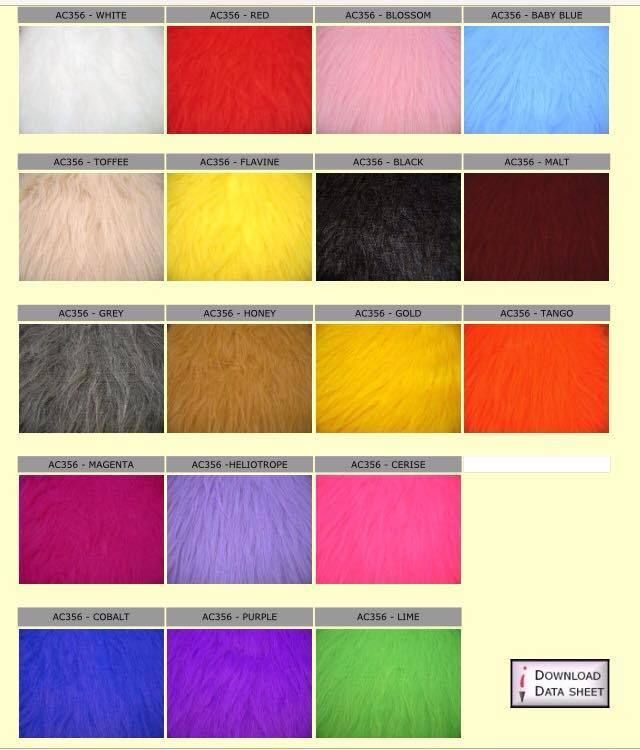 Long Pile/Hair Haired Faux Fur Fabric SAMPLES- HALF and 1 METRE LENGTHS