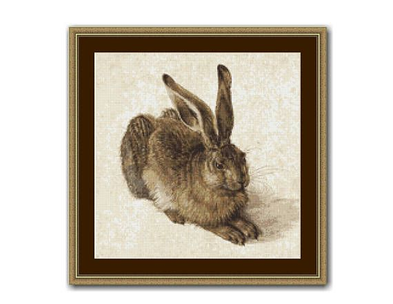 Young Hare, Albrecht Durer, Counted Cross Stitch Pattern / Chart, Instant Digital Download  (ABA010)
