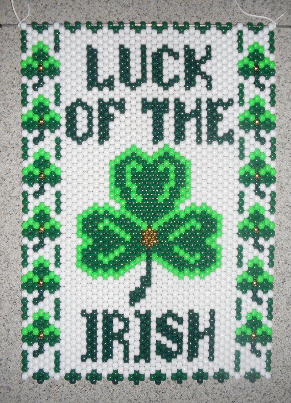 Handmade St. Patrick's Day Luck of the Irish Beaded Banner with Nylon Cord